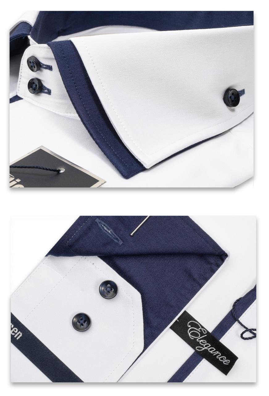 90493276f05ae35 Мужская рубашка белая Elegance Slim Fit c синим подкроем и двойным  воротником