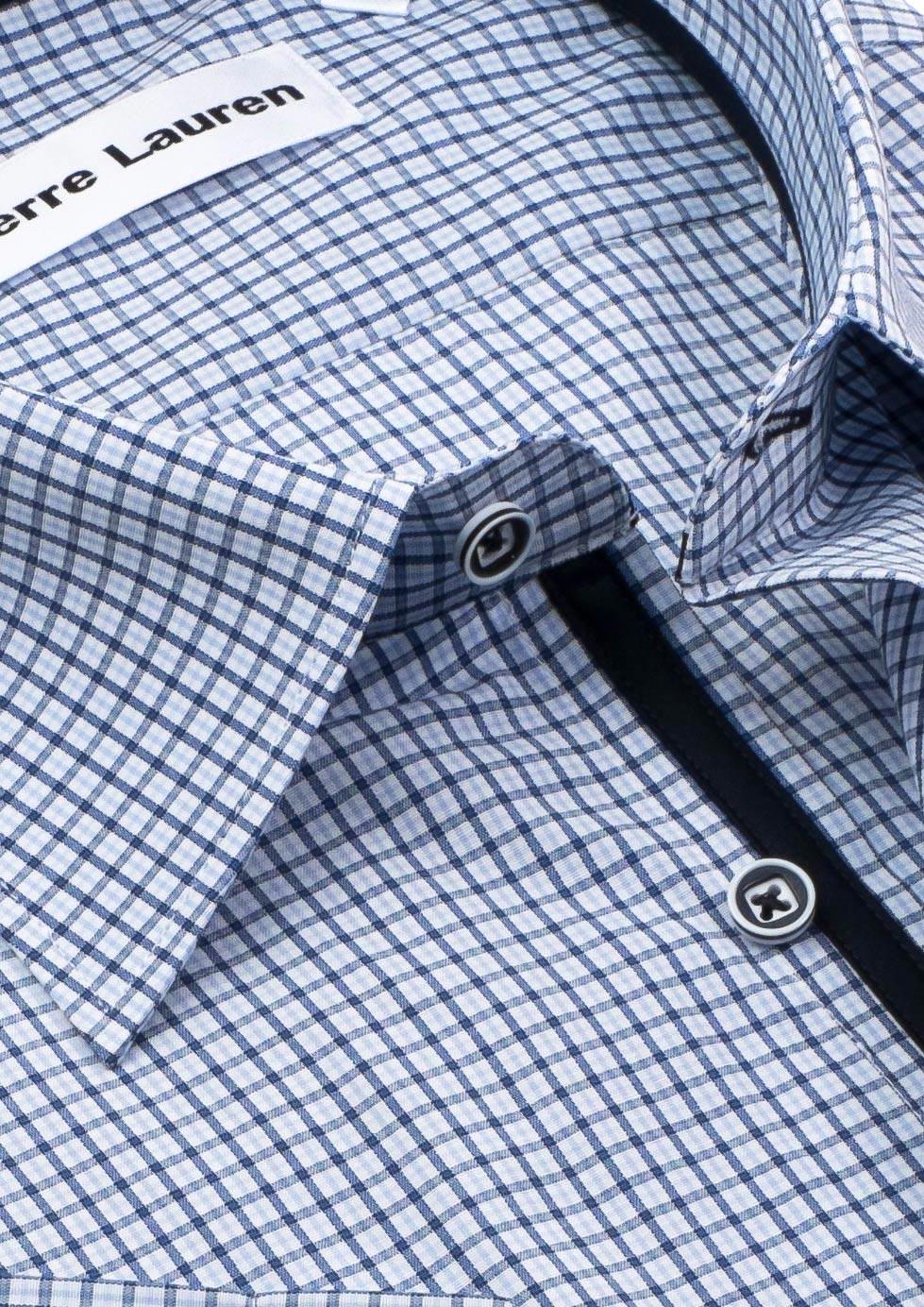 43f448d15b6 Классическая (прямая) мужская рубашка с коротким рукавом в темно-синюю  клетку