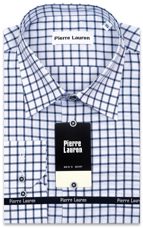 00c84a9624c Красивая мужская рубашка с длинным рукавом белого цвета в темно-синюю клетку