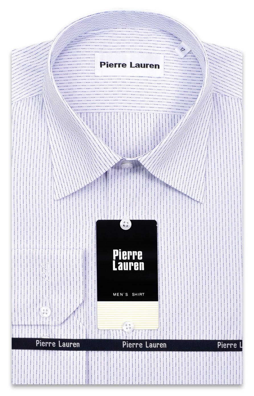425ec0afdda0e7d Оригинальная мужская рубашка с длинным рукавом белого цвета в синюю  структурную полоску
