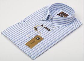 Мужская рубашка в голубую полоску приталенная Jacoe