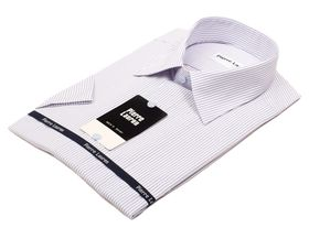 Приталенная мужская рубашка с коротким рукавом в полоску