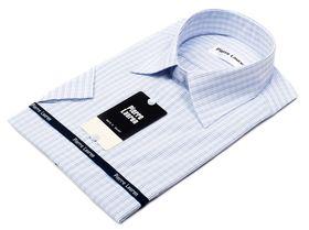 Мужская рубашка в светлую клетку c коротким рукавом