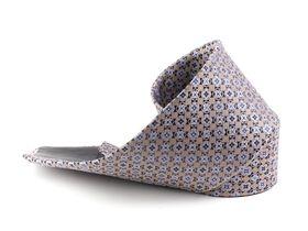 Бежевый мужской галстук украшенный интересным геометрическим узором