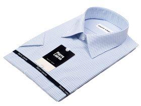 Голубая мужская рубашка с коротким рукавом в полоску