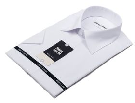 Однотонная белая рубашка с коротким рукавом