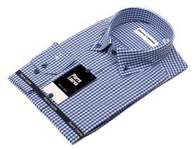 Мужская рубашка синяя в клетку приталенная