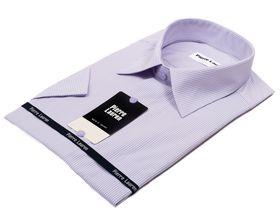 Мужская рубашка в сиреневую полоску c коротким рукавом