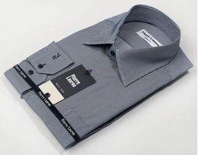 Мужская рубашка Slim Fit (полуприталенная) в тонкую структурную серую полоску