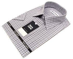 Классическая (прямая) мужская рубашка с коротким рукавом в клетку