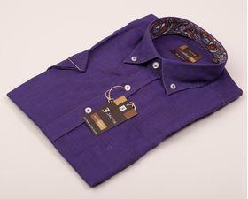Фиолетовая мужская рубашка из 100% льна