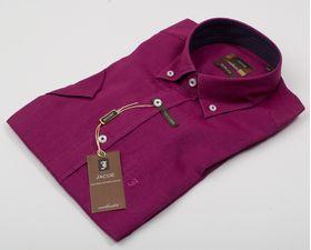 100122JМК  Бордовая мужская рубашка приталенная Jacoe