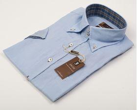 100214JМК Голубая мужская рубашка приталенная Jacoe