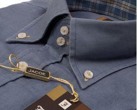 100221JМК Серая мужская рубашка приталенная Jacoe