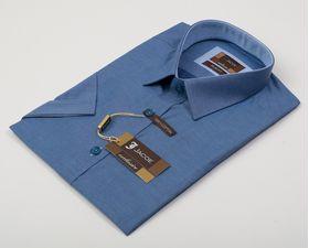 100464JМК Синяя мужская рубашка приталенная Jacoe