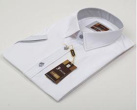 100501JМК Белая мужская рубашка приталенная Jacoe