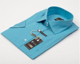 100511JМК Бирюзовая мужская рубашка приталенная Jacoe