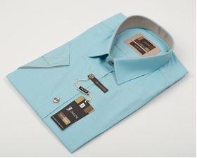 100617JМК Бирюзовая мужская рубашка приталенная Jacoe