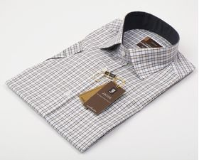 103034JМК Мужская рубашка в клетку приталенная Jacoe