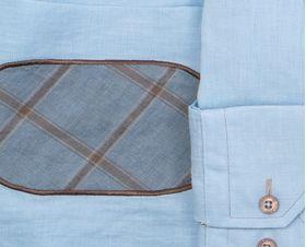 Мужская рубашка из 100% льна голубого цвета