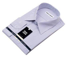 Приталенная классическая мужская рубашка в сиреневую полоску