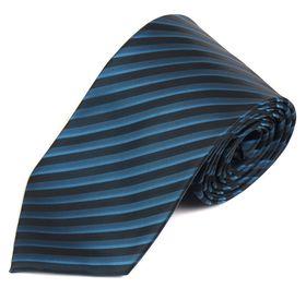 Классический мужской галстук в черную и синюю полоску