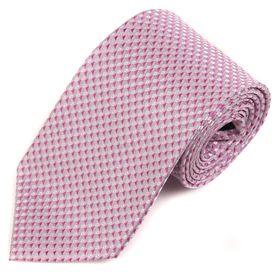Розовый мужской галстук украшен интересным геометрическим узором