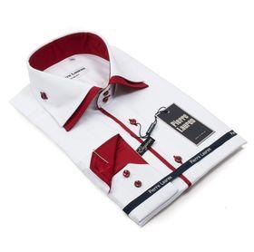 Мужская рубашка белая Elegance Slim Fit c красным подкроем и двойным воротником