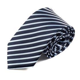 Классический синий мужской галстук шириной 7.5 см в светлую полоску