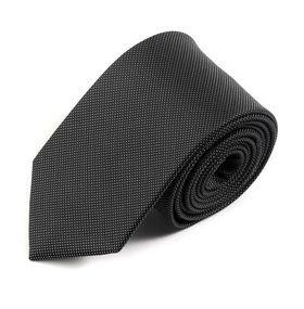 Классический черный мужской галстук с белым узором