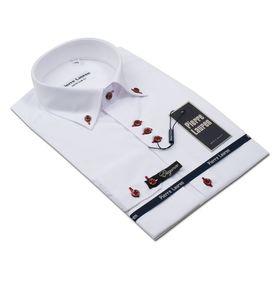 Мужская белая рубашка Elegance Super Slim Fit с красными пуговицами