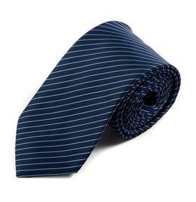 Классический мужской галстук синего цвета в тонкую белую полоску