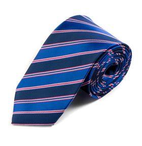 Необычный мужской галстук в синюю и розовую полоску