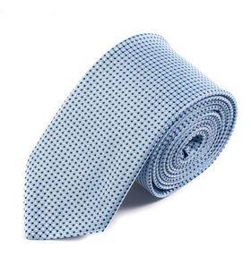 Голубой мужской галстук шириной 7.5 см с геометрическим узором