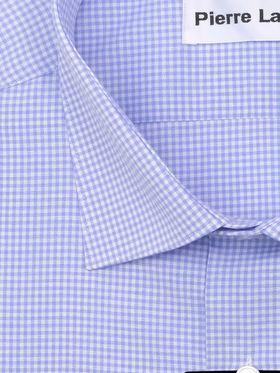 Голубая классическая (прямая) мужская рубашка в клетку с коротким рукавом