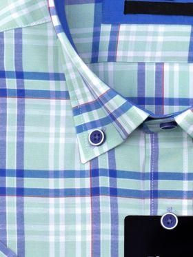 Классическая прямая мужская рубашка с коротким рукавом Classic бирюзовая в синюю клетку.