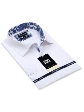 Белая классическая (прямая) мужская рубашка с коротким рукавом (Classic)