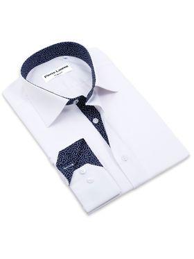 Красивая белая мужская рубашка Elegance приталенного кроя Super Slim Fit с узорным подкроем