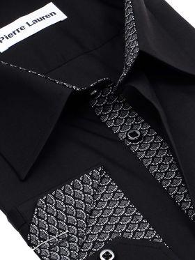 Черная однотонная мужская рубашка больших размеров