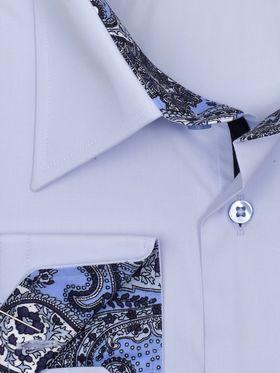 Голубая однотонная мужская рубашка больших размеров