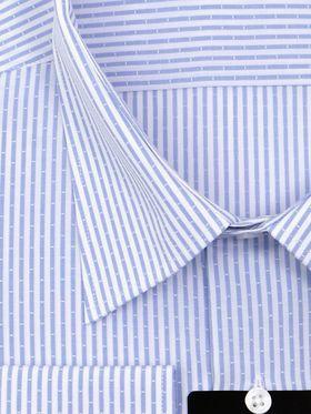 Мужская рубашка прямого покроя больших размеров в интересную голубую полоску