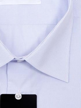 Классическая мужская рубашка с длинным рукавом в тонкую голубую полоску