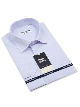 Приталенная мужская рубашка в тонкую голубую полоску