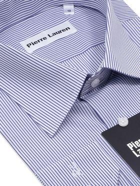 Мужская классическая рубашка с длинным рукавом в синюю полоску