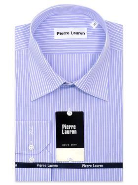 Классическая голубая мужская рубашка с длинным рукавом в белую полоску