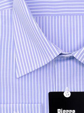 Классическая голубая мужская рубашка с длинным рукавом в белую полоскуКлассическая голубая мужская рубашка с длинным рукавом в белую полоску