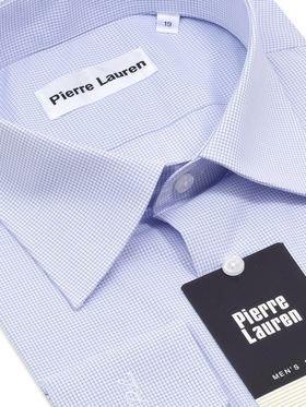 Мужская классическая рубашка с длинным рукавом в мелкую голубую клетку