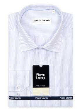 Классическая мужская рубашка с длинным рукавом белого цвета в тонкую голубую полоску