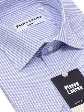 Мужская рубашка в модную бело-голубую полоску