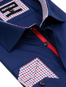 Приталенная темно-синяя мужская рубашка покроя Elegance Slim Fit